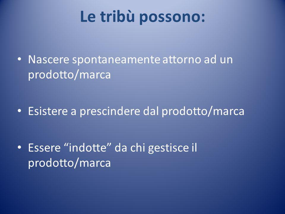 Le tribù possono: Nascere spontaneamente attorno ad un prodotto/marca Esistere a prescindere dal prodotto/marca Essere indotte da chi gestisce il prodotto/marca