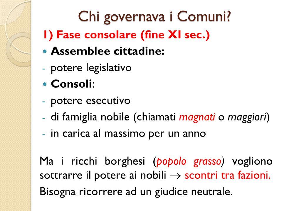 Chi governava i Comuni? 1) Fase consolare (fine XI sec.) Assemblee cittadine: - potere legislativo Consoli: - potere esecutivo - di famiglia nobile (c