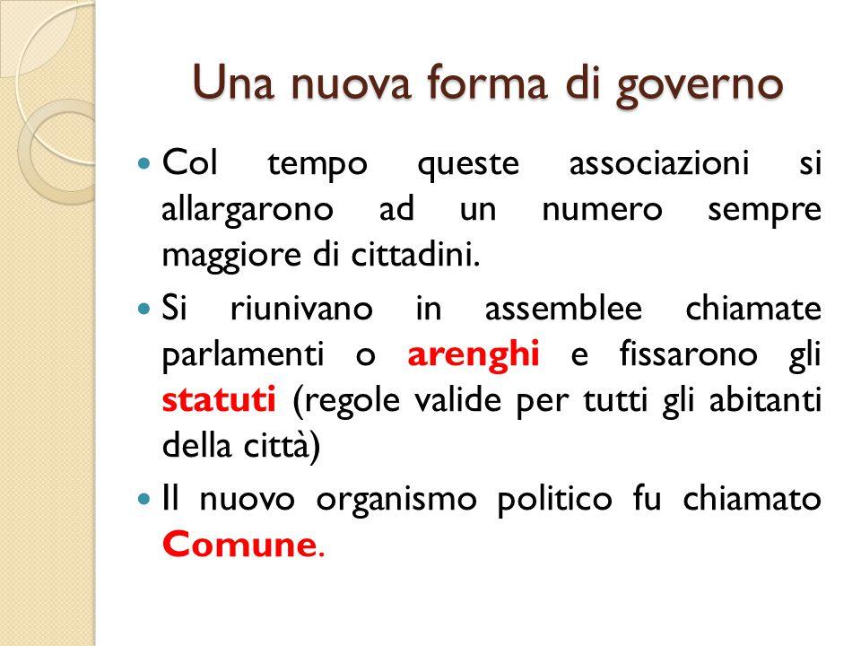 Una nuova forma di governo Col tempo queste associazioni si allargarono ad un numero sempre maggiore di cittadini. Si riunivano in assemblee chiamate