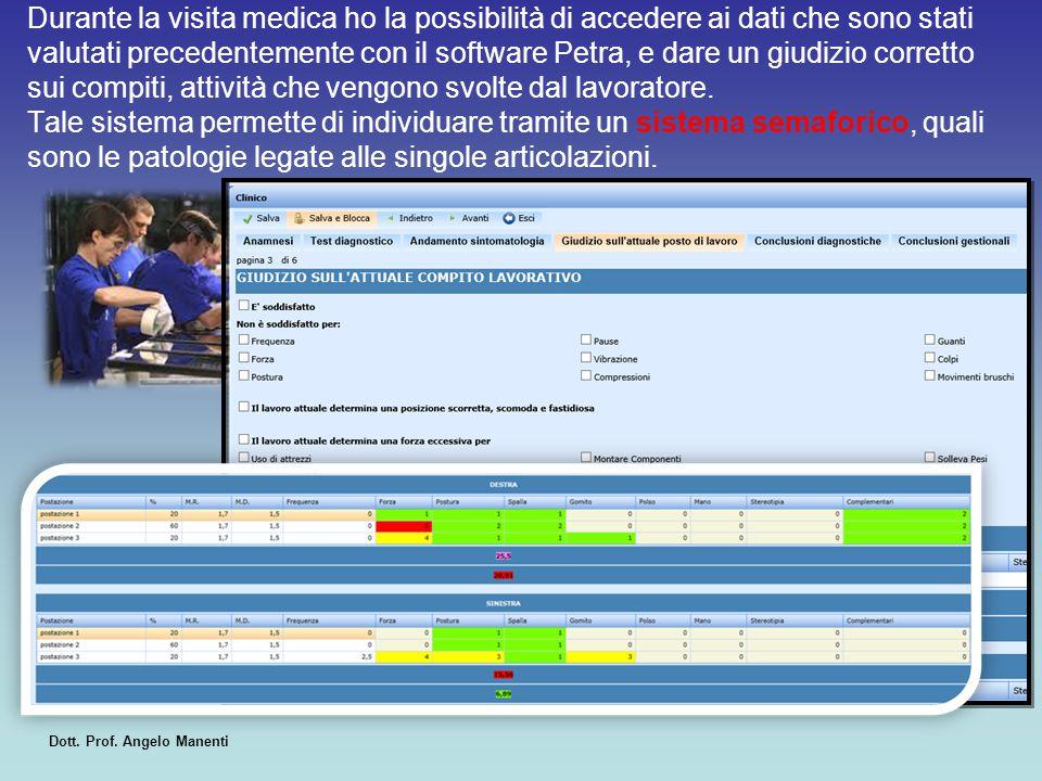 Durante la visita medica ho la possibilità di accedere ai dati che sono stati valutati precedentemente con il software Petra, e dare un giudizio corre