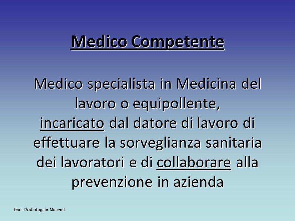 Medico Competente Medico specialista in Medicina del lavoro o equipollente, incaricato dal datore di lavoro di effettuare la sorveglianza sanitaria de