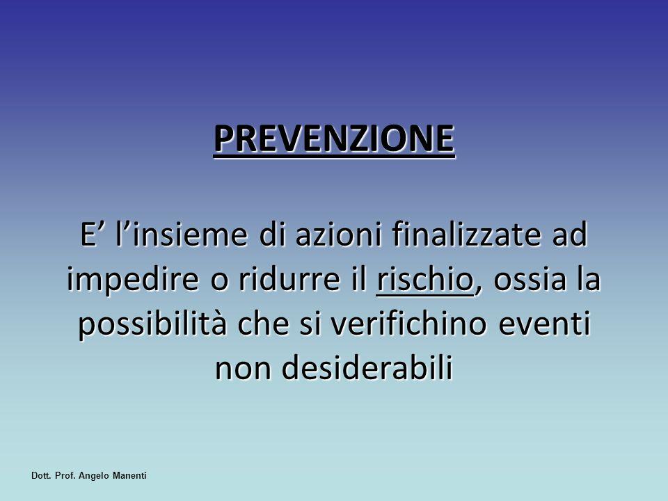 PREVENZIONE E' l'insieme di azioni finalizzate ad impedire o ridurre il rischio, ossia la possibilità che si verifichino eventi non desiderabili Dott.