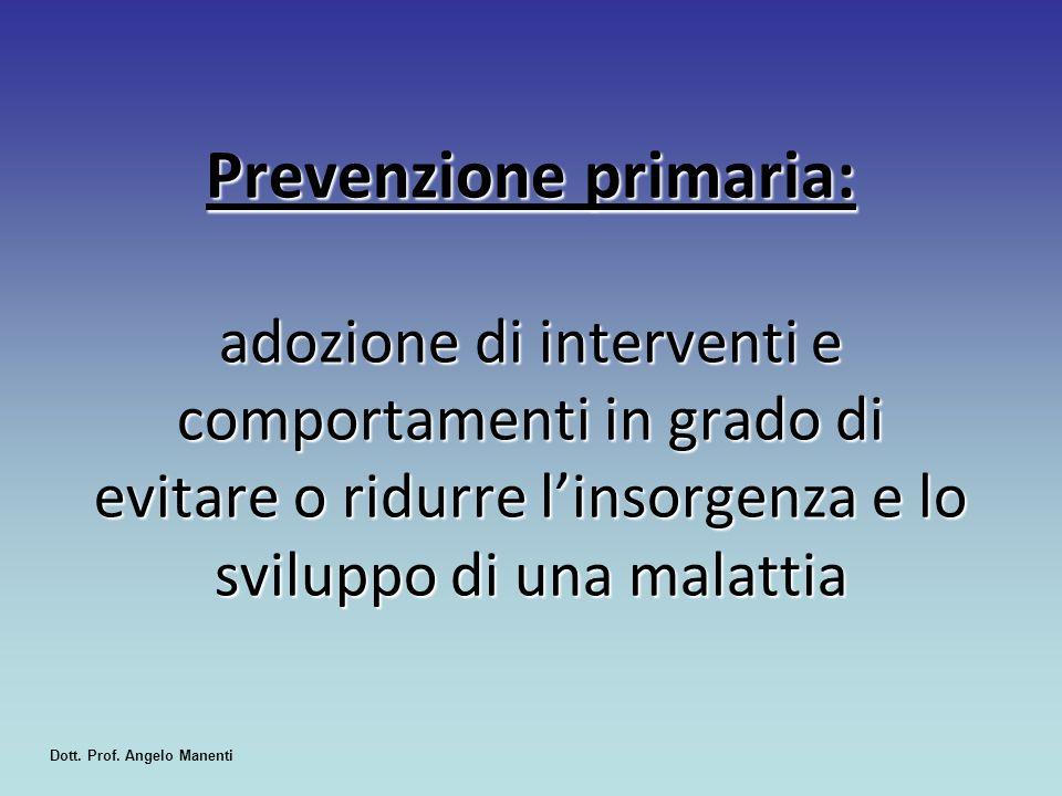 Prevenzione primaria: adozione di interventi e comportamenti in grado di evitare o ridurre l'insorgenza e lo sviluppo di una malattia Dott. Prof. Ange