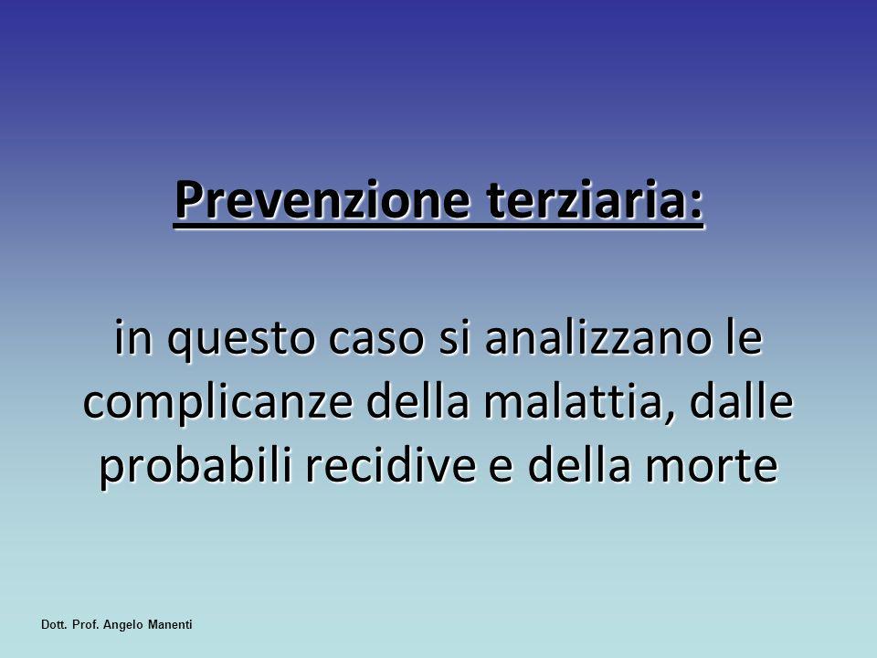 Prevenzione terziaria: in questo caso si analizzano le complicanze della malattia, dalle probabili recidive e della morte Dott. Prof. Angelo Manenti