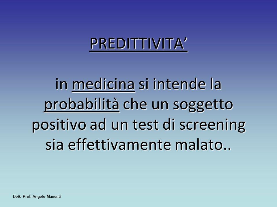 PREDITTIVITA' in medicina si intende la probabilità che un soggetto positivo ad un test di screening sia effettivamente malato.. Dott. Prof. Angelo Ma