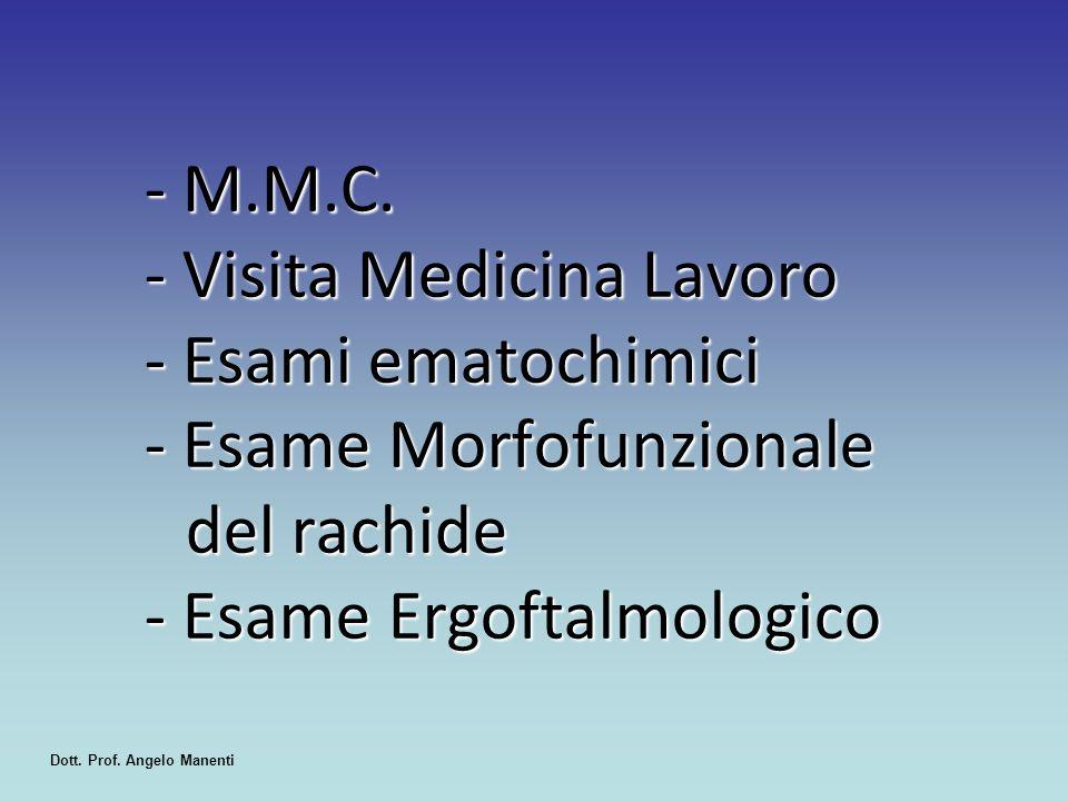 - M.M.C. - Visita Medicina Lavoro - Esami ematochimici - Esame Morfofunzionale del rachide - Esame Ergoftalmologico Dott. Prof. Angelo Manenti