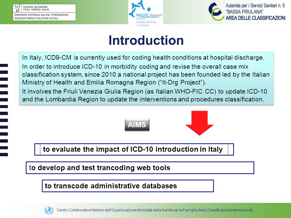 Centro Collaboratore Italiano dell Organizzazione Mondiale della Sanità per la Famiglia delle Classificazioni Internazionali In Italy, ICD9-CM is currently used for coding health conditions at hospital discharge.
