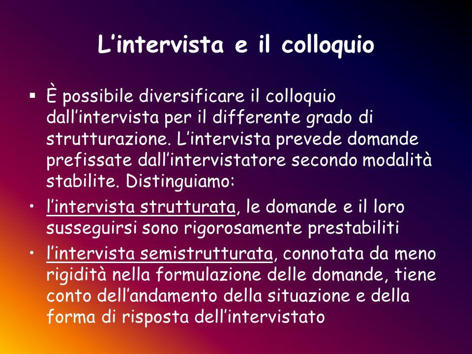 L'intervista e il colloquio  È possibile diversificare il colloquio dall'intervista per il differente grado di strutturazione. L'intervista prevede d