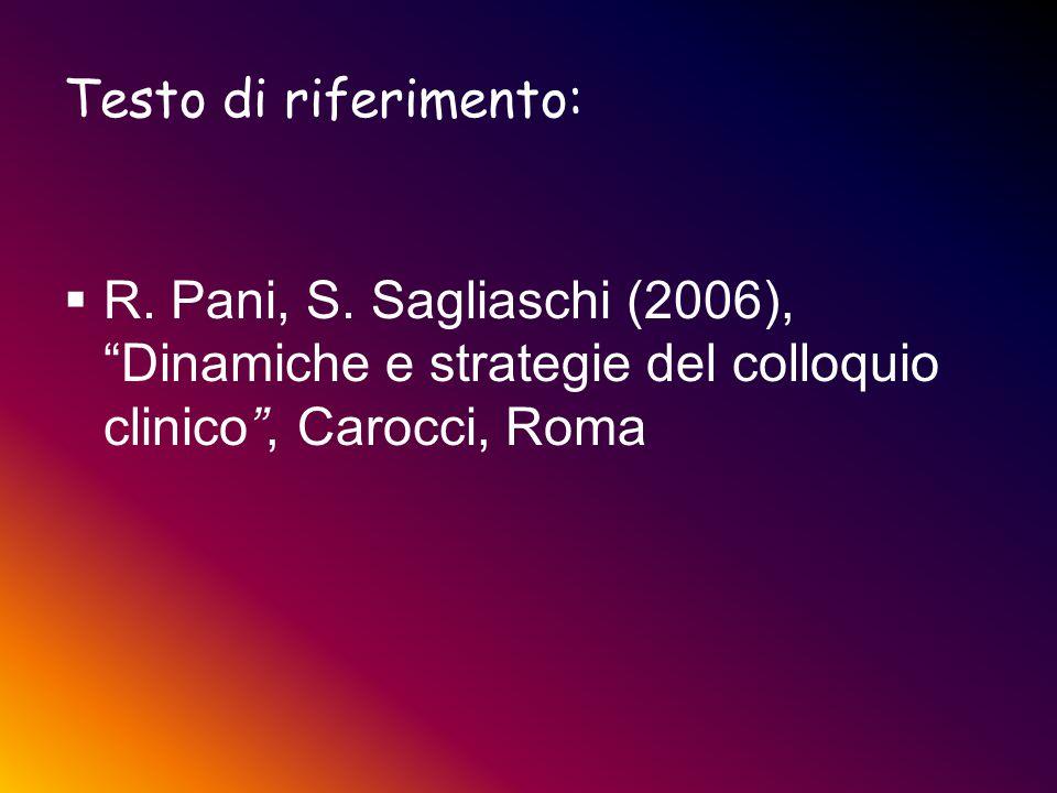 """Testo di riferimento:  R. Pani, S. Sagliaschi (2006), """"Dinamiche e strategie del colloquio clinico"""", Carocci, Roma"""
