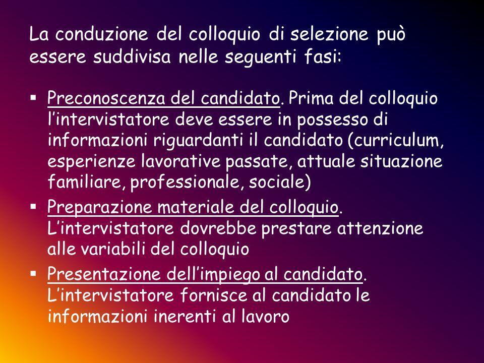 La conduzione del colloquio di selezione può essere suddivisa nelle seguenti fasi:  Preconoscenza del candidato. Prima del colloquio l'intervistatore