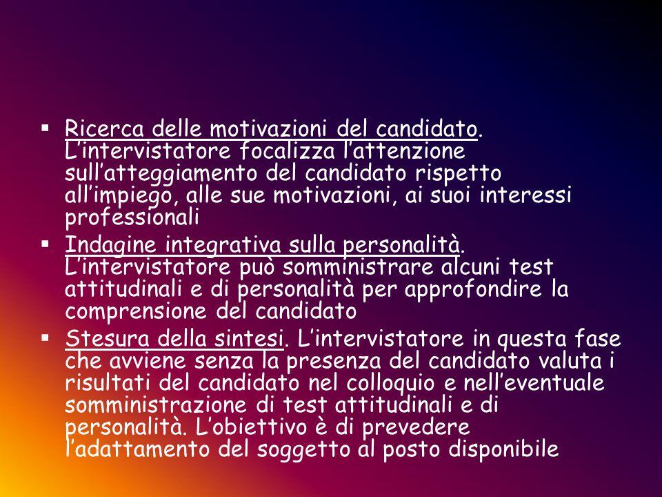  Ricerca delle motivazioni del candidato. L'intervistatore focalizza l'attenzione sull'atteggiamento del candidato rispetto all'impiego, alle sue mot