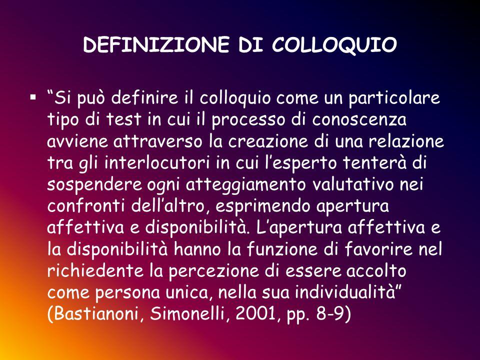 """DEFINIZIONE DI COLLOQUIO  """"Si può definire il colloquio come un particolare tipo di test in cui il processo di conoscenza avviene attraverso la creaz"""
