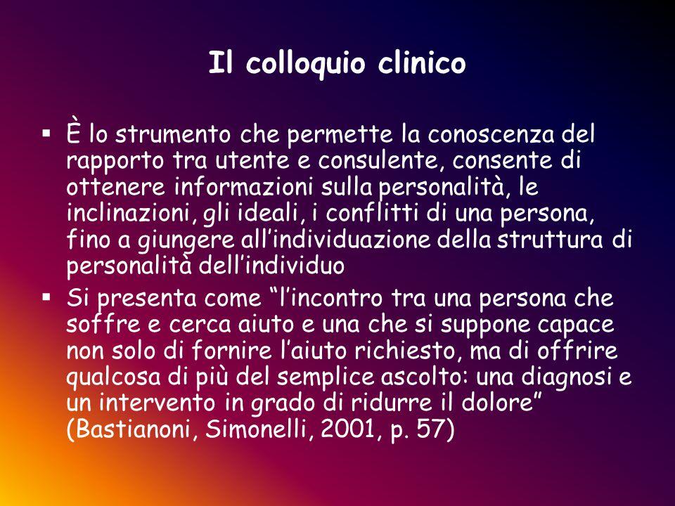 Il colloquio clinico  È lo strumento che permette la conoscenza del rapporto tra utente e consulente, consente di ottenere informazioni sulla persona