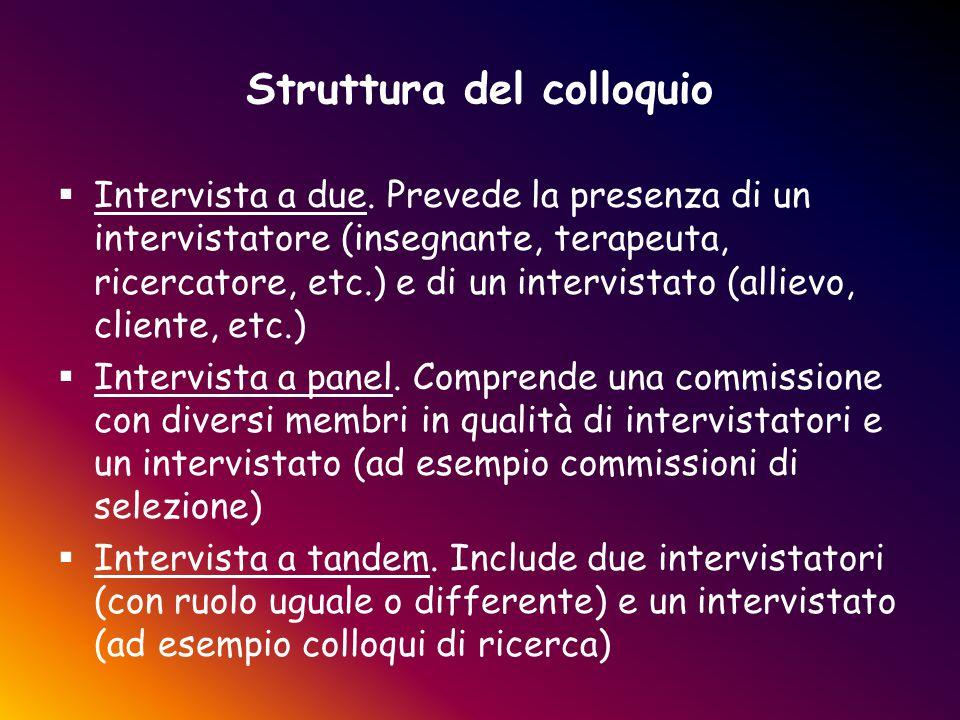 Struttura del colloquio  Intervista a due. Prevede la presenza di un intervistatore (insegnante, terapeuta, ricercatore, etc.) e di un intervistato (