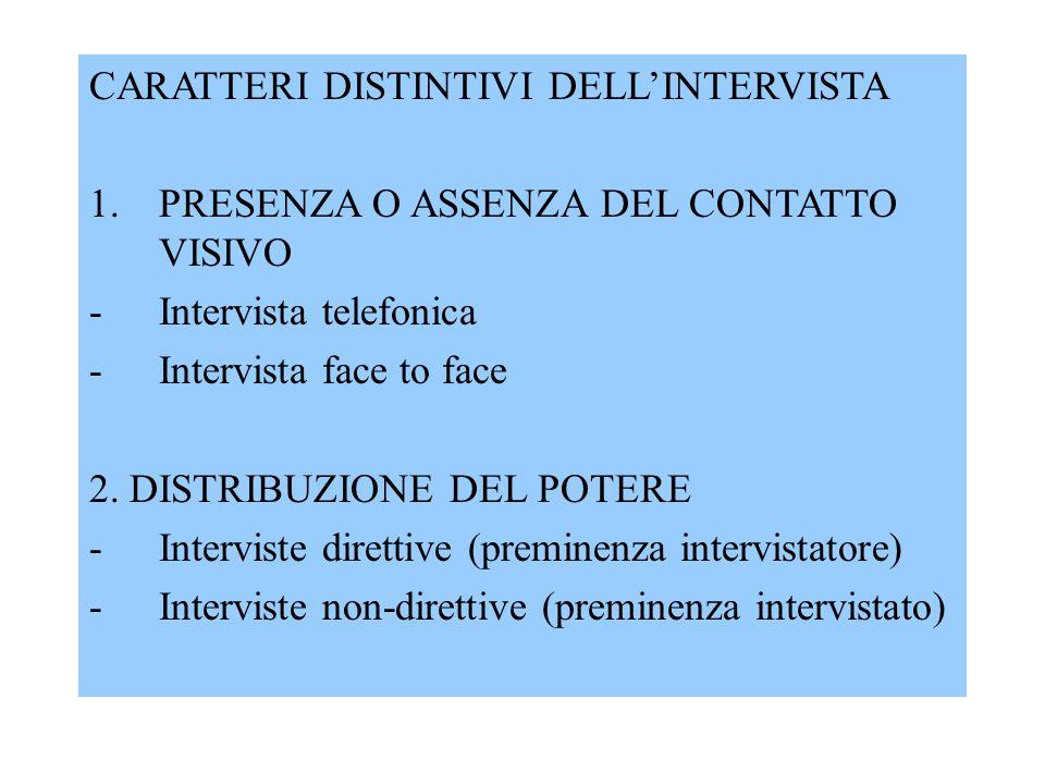 CARATTERI DISTINTIVI DELL'INTERVISTA 1.PRESENZA O ASSENZA DEL CONTATTO VISIVO -Intervista telefonica -Intervista face to face 2.