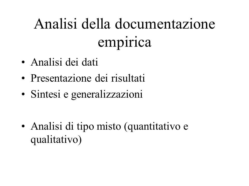 Analisi della documentazione empirica Analisi dei dati Presentazione dei risultati Sintesi e generalizzazioni Analisi di tipo misto (quantitativo e qualitativo)