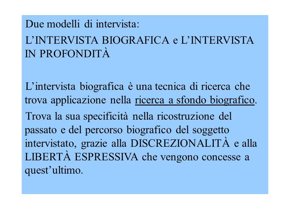 Due modelli di intervista: L'INTERVISTA BIOGRAFICA e L'INTERVISTA IN PROFONDITÀ L'intervista biografica è una tecnica di ricerca che trova applicazione nella ricerca a sfondo biografico.
