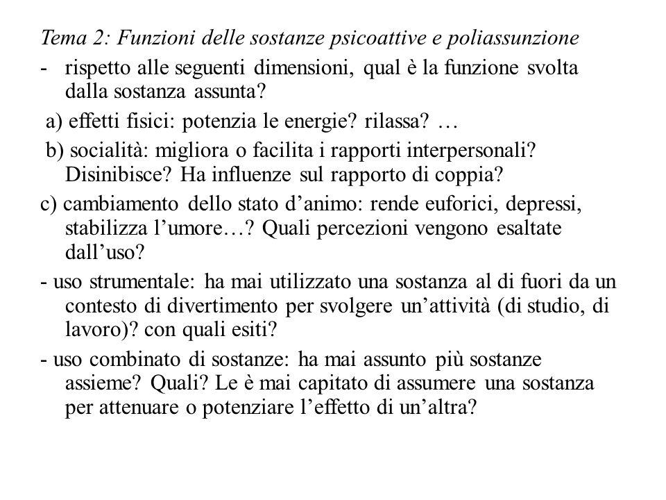 Tema 2: Funzioni delle sostanze psicoattive e poliassunzione -rispetto alle seguenti dimensioni, qual è la funzione svolta dalla sostanza assunta.