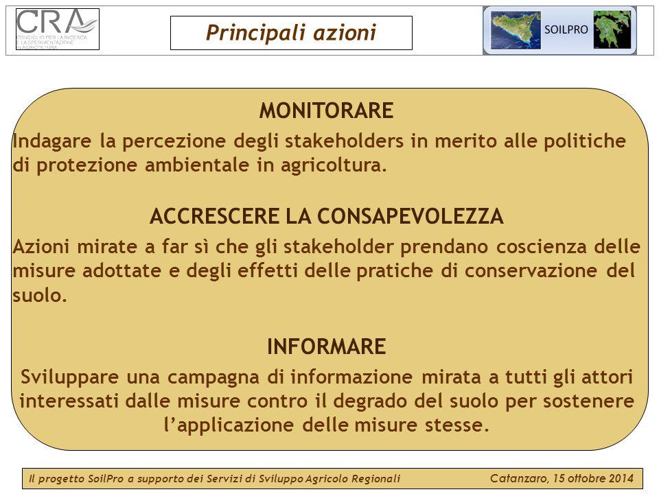 MONITORARE Indagare la percezione degli stakeholders in merito alle politiche di protezione ambientale in agricoltura.