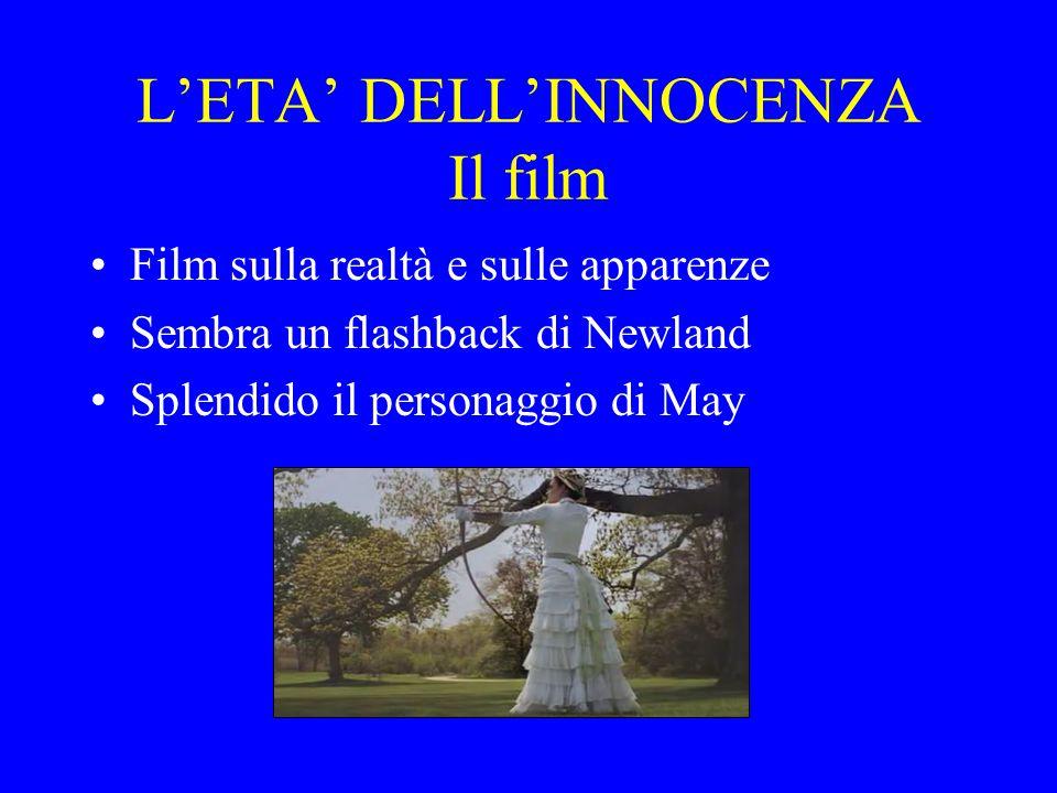 L'ETA' DELL'INNOCENZA Il film Film sulla realtà e sulle apparenze Sembra un flashback di Newland Splendido il personaggio di May