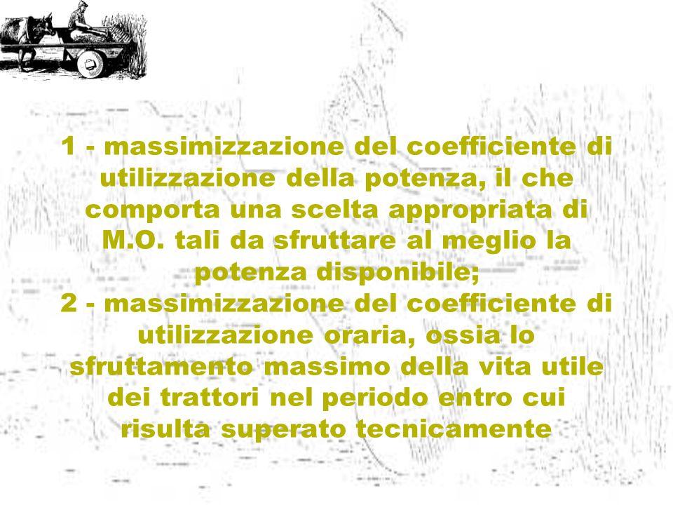 1 - massimizzazione del coefficiente di utilizzazione della potenza, il che comporta una scelta appropriata di M.O. tali da sfruttare al meglio la pot