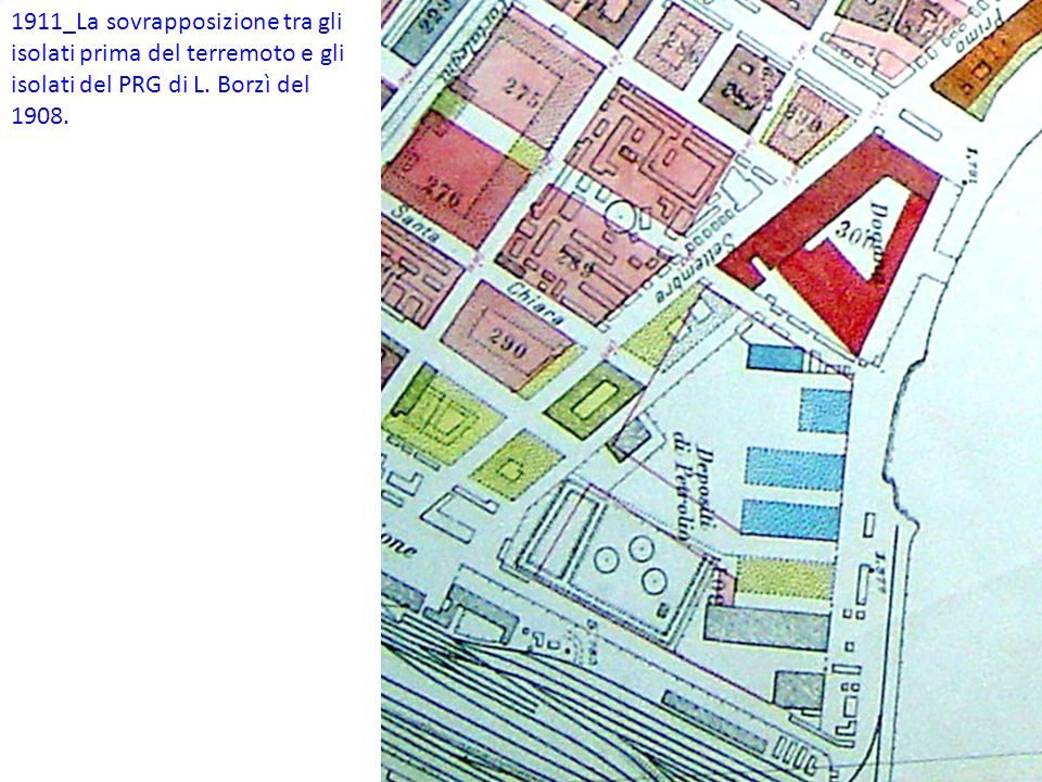 1911_La sovrapposizione tra gli isolati prima del terremoto e gli isolati del PRG di L.