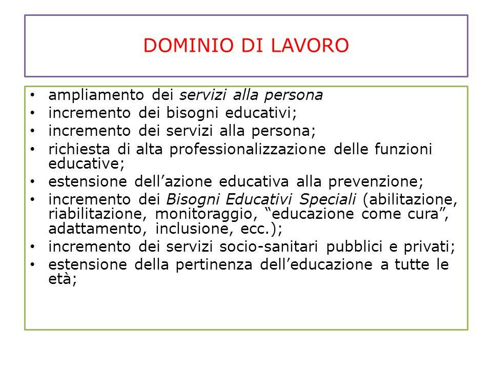 DOMINIO DI LAVORO ampliamento dei servizi alla persona incremento dei bisogni educativi; incremento dei servizi alla persona; richiesta di alta profes
