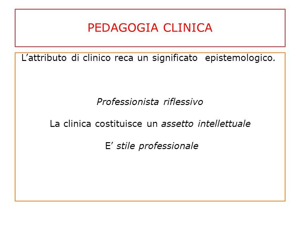 PEDAGOGIA CLINICA L'attributo di clinico reca un significato epistemologico. Professionista riflessivo La clinica costituisce un assetto intellettuale