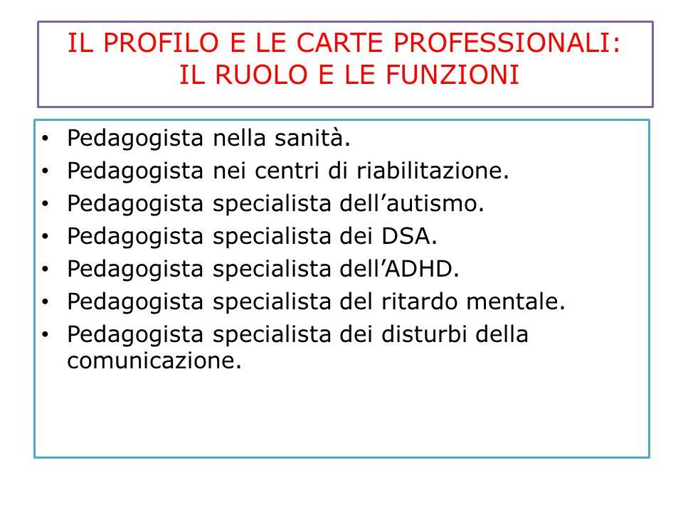 IL PROFILO E LE CARTE PROFESSIONALI: IL RUOLO E LE FUNZIONI Pedagogista nella sanità. Pedagogista nei centri di riabilitazione. Pedagogista specialist
