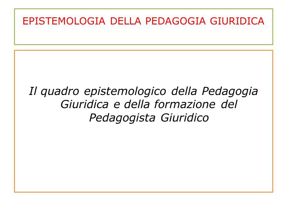 EPISTEMOLOGIA DELLA PEDAGOGIA GIURIDICA Il quadro epistemologico della Pedagogia Giuridica e della formazione del Pedagogista Giuridico
