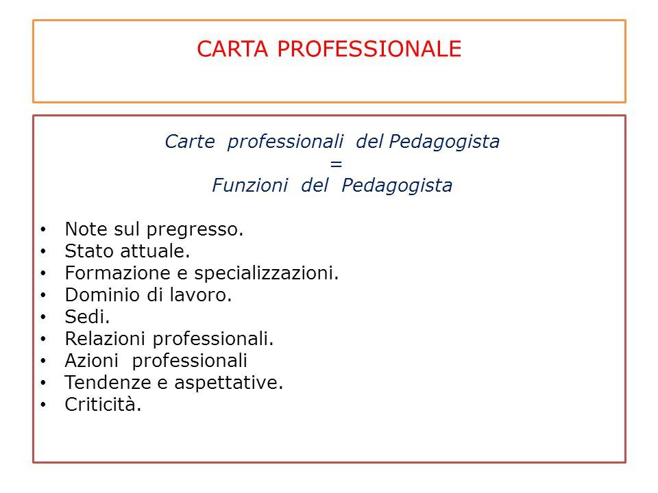 CARTA PROFESSIONALE Carte professionali del Pedagogista = Funzioni del Pedagogista Note sul pregresso. Stato attuale. Formazione e specializzazioni. D