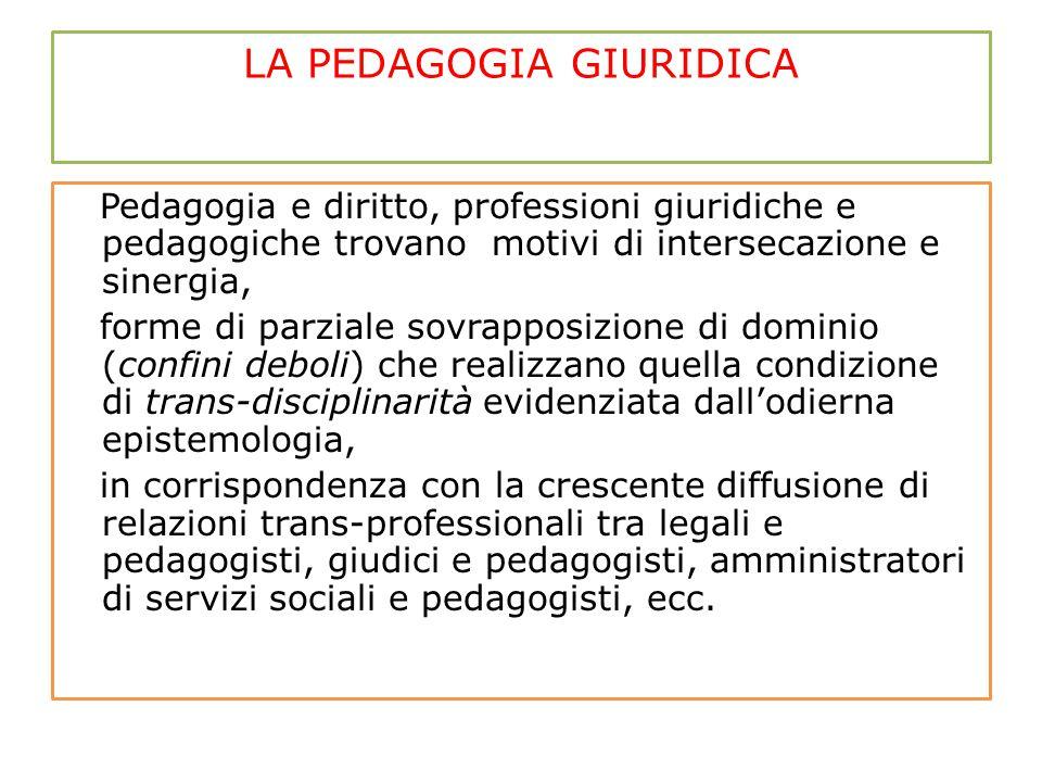 LA PEDAGOGIA GIURIDICA Pedagogia e diritto, professioni giuridiche e pedagogiche trovano motivi di intersecazione e sinergia, forme di parziale sovrap