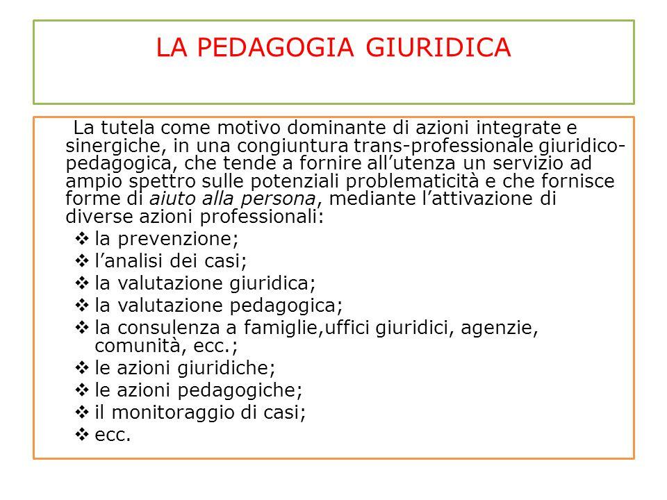 LA PEDAGOGIA GIURIDICA La tutela come motivo dominante di azioni integrate e sinergiche, in una congiuntura trans-professionale giuridico- pedagogica,