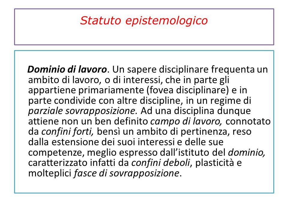 Statuto epistemologico Dominio di lavoro. Un sapere disciplinare frequenta un ambito di lavoro, o di interessi, che in parte gli appartiene primariame