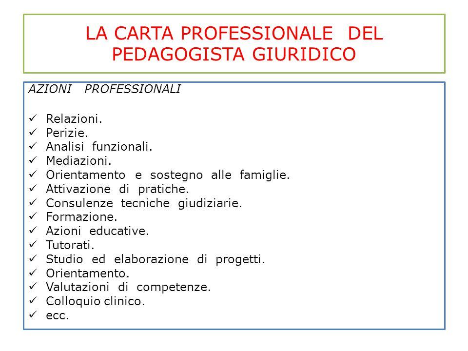 LA CARTA PROFESSIONALE DEL PEDAGOGISTA GIURIDICO AZIONI PROFESSIONALI Relazioni. Perizie. Analisi funzionali. Mediazioni. Orientamento e sostegno alle