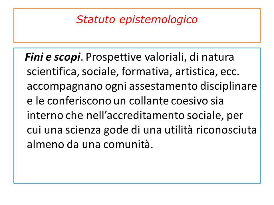 Statuto epistemologico Fini e scopi. Prospettive valoriali, di natura scientifica, sociale, formativa, artistica, ecc. accompagnano ogni assestamento