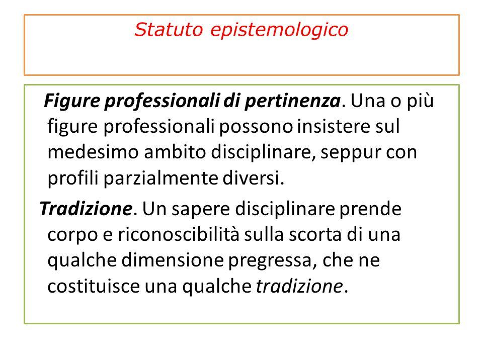 Statuto epistemologico Figure professionali di pertinenza. Una o più figure professionali possono insistere sul medesimo ambito disciplinare, seppur c