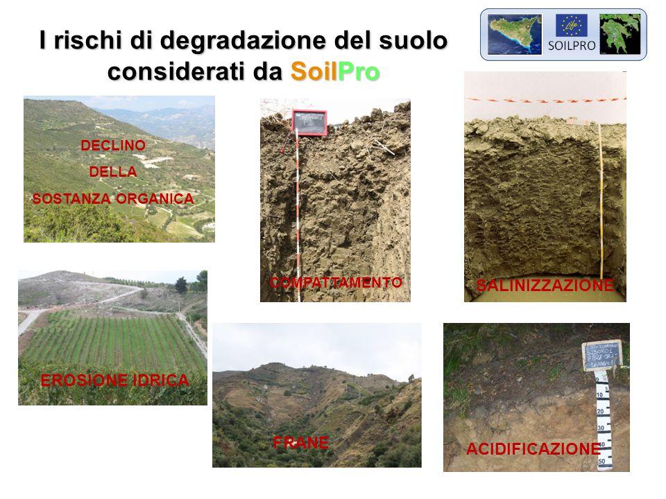 I rischi di degradazione del suolo considerati da SoilPro DECLINO DELLA SOSTANZA ORGANICA EROSIONE IDRICA COMPATTAMENTO FRANE SALINIZZAZIONE ACIDIFICAZIONE