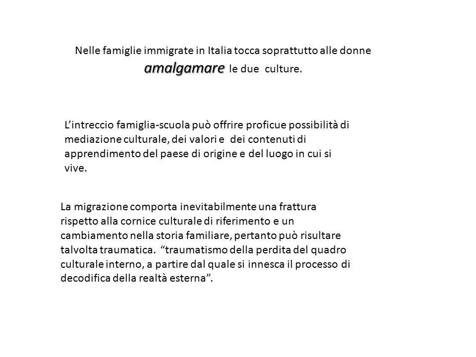 amalgamare Nelle famiglie immigrate in Italia tocca soprattutto alle donne amalgamare le due culture.