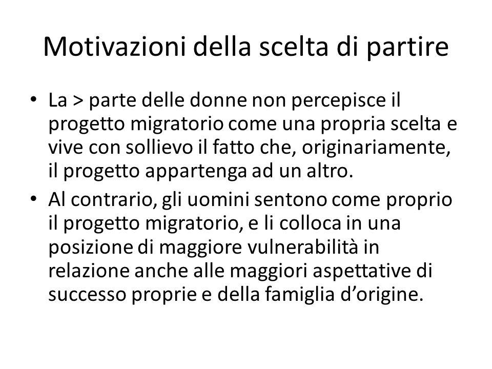 Motivazioni della scelta di partire La > parte delle donne non percepisce il progetto migratorio come una propria scelta e vive con sollievo il fatto che, originariamente, il progetto appartenga ad un altro.