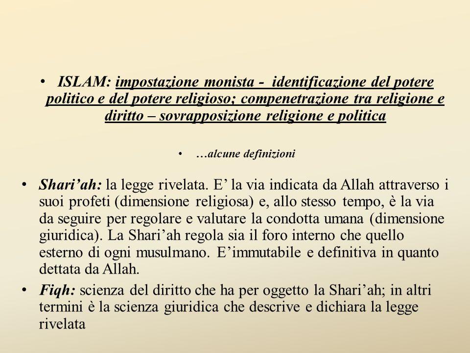 ISLAM: impostazione monista - identificazione del potere politico e del potere religioso; compenetrazione tra religione e diritto – sovrapposizione religione e politica …alcune definizioni Shari'ah: la legge rivelata.