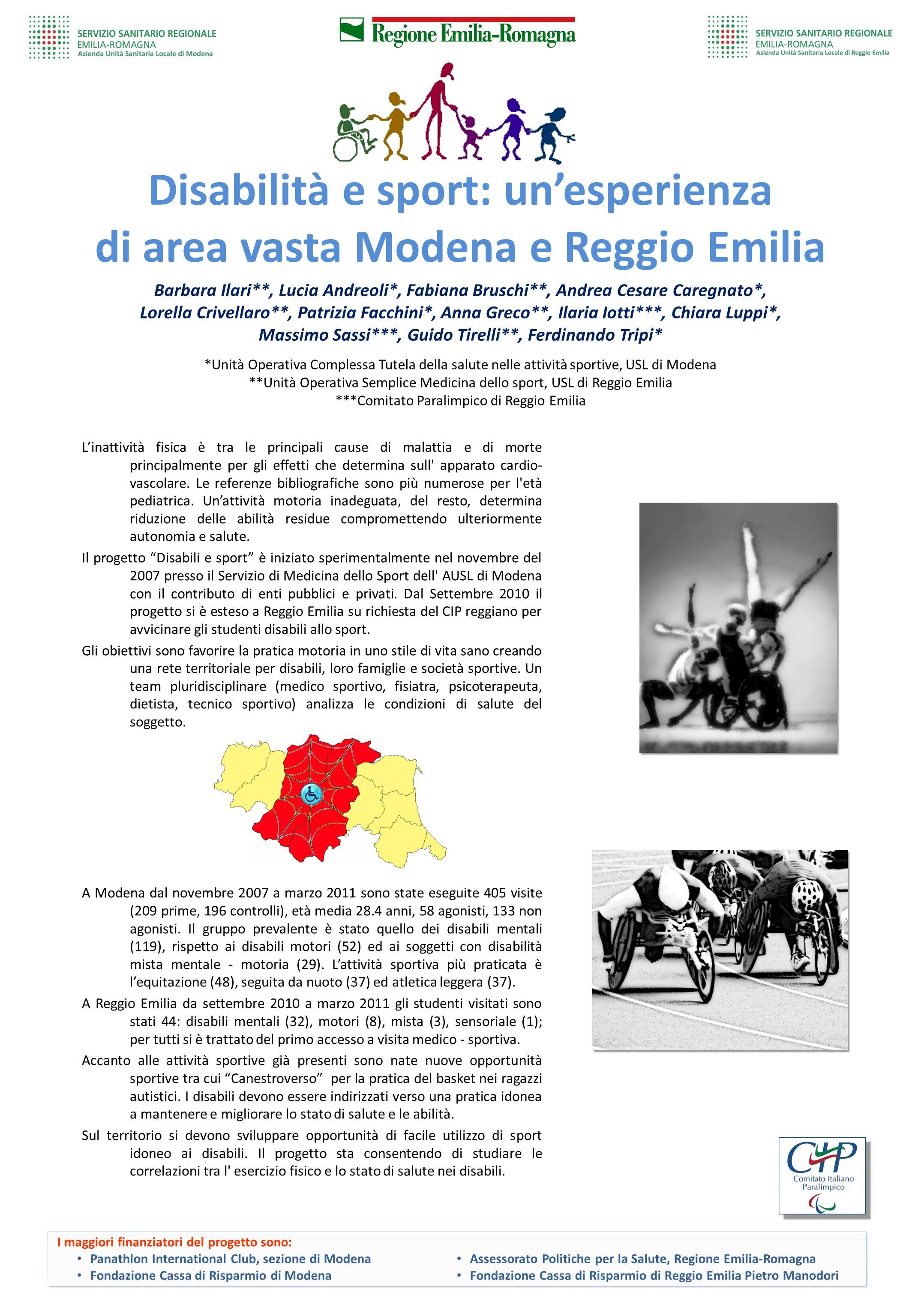 Disabilità e sport: un'esperienza di area vasta Modena e Reggio Emilia Barbara Ilari**, Lucia Andreoli*, Fabiana Bruschi**, Andrea Cesare Caregnato*,