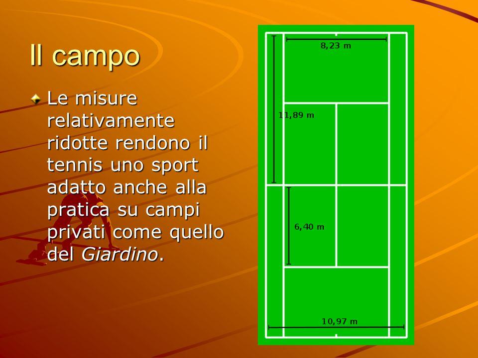 Il campo Le misure relativamente ridotte rendono il tennis uno sport adatto anche alla pratica su campi privati come quello del Giardino.