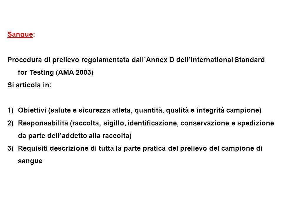 Sangue: Procedura di prelievo regolamentata dall'Annex D dell'International Standard for Testing (AMA 2003) Si articola in: 1)Obiettivi (salute e sicu