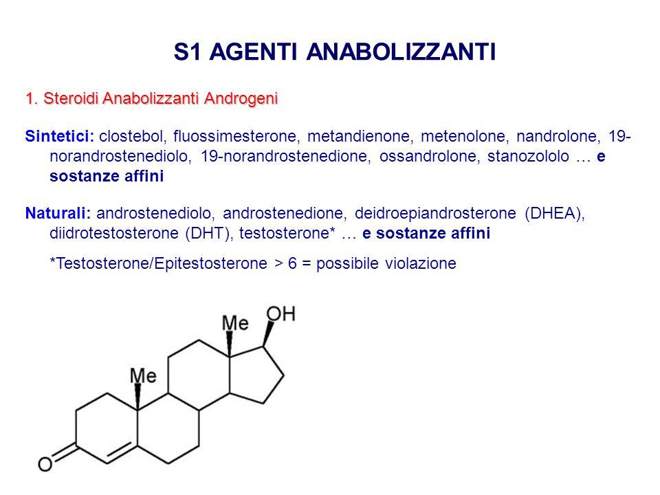 S1 AGENTI ANABOLIZZANTI 1. Steroidi Anabolizzanti Androgeni Sintetici: clostebol, fluossimesterone, metandienone, metenolone, nandrolone, 19- norandro