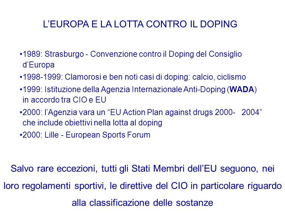 L'EUROPA E LA LOTTA CONTRO IL DOPING 1989: Strasburgo - Convenzione contro il Doping del Consiglio d'Europa 1998-1999: Clamorosi e ben noti casi di do