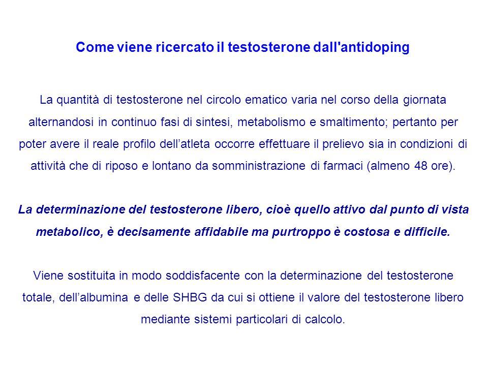 Come viene ricercato il testosterone dall'antidoping La quantità di testosterone nel circolo ematico varia nel corso della giornata alternandosi in co
