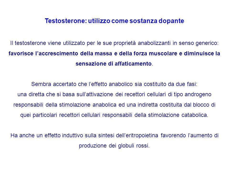 Testosterone: utilizzo come sostanza dopante Il testosterone viene utilizzato per le sue proprietà anabolizzanti in senso generico: favorisce l'accres