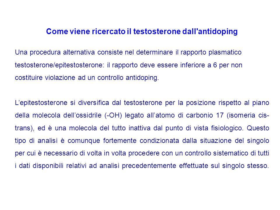 Come viene ricercato il testosterone dall'antidoping Una procedura alternativa consiste nel determinare il rapporto plasmatico testosterone/epitestost
