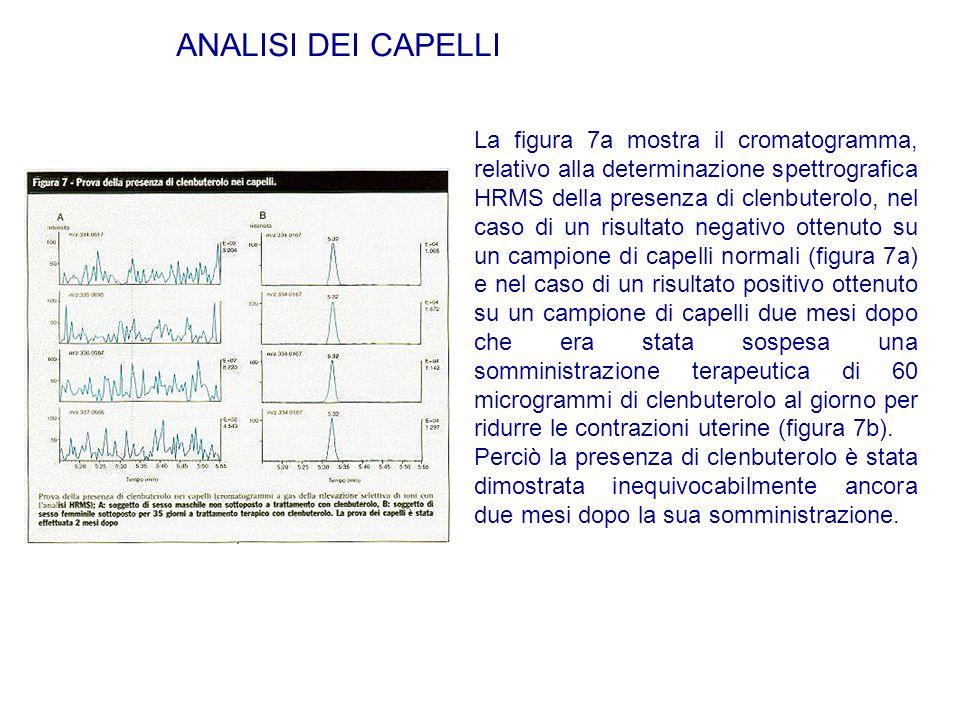 La figura 7a mostra il cromatogramma, relativo alla determinazione spettrografica HRMS della presenza di clenbuterolo, nel caso di un risultato negati
